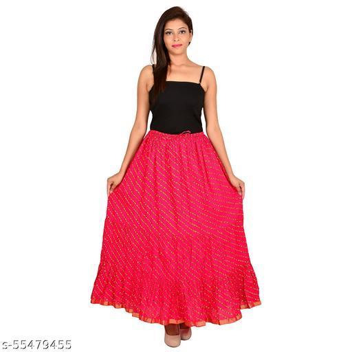 Women's Jaipuri Traditional lahriya Print Cotton Long Summer Casual Skirt Pink