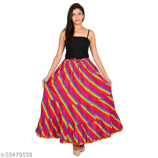 Exclusive Red Multi Color Cotton Skirt