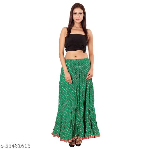 Women's jaipuri Traditional lahriya print cotton long summer party wear casual skirt Green