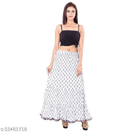 women's jaipuri Traditional Floral leafy Print cotton long skirt