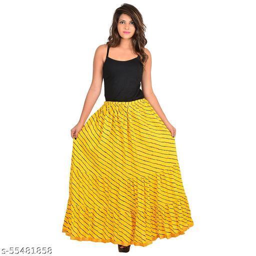 Women's Jaipuri Traditional lahriya Print Cotton Long Summer Casual Skirt Yellow
