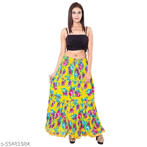 Women's Jaipuri Floral Traditional Attractive Long Yellow Skirt
