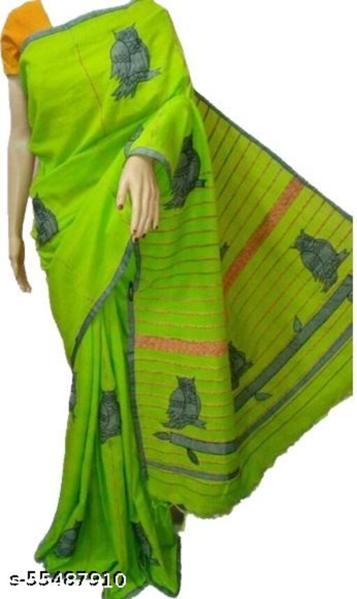 Shantiniketan style pure cotton Beautiful Applique design Saree
