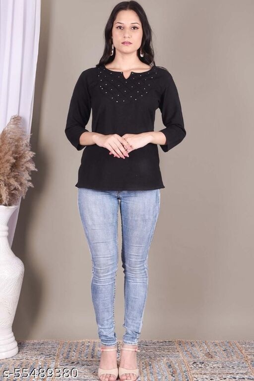Vilma Trendy solid black top with handwork