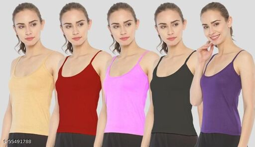 Women Cotton Multi Colors  Camisoles, Slips  with Adjustable straps pack 5