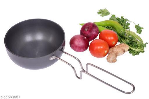 Tulika Collections Heavy Gauge Tadka Pan with Steel Handle (13 cm, 425 ml Capacity) I Thalippu Pan I Popu Pan for Spice Heating I Vagharia Pan , Dark Grey