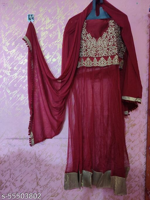 Khwaish brand- Anarkali style long semi-stitched suit