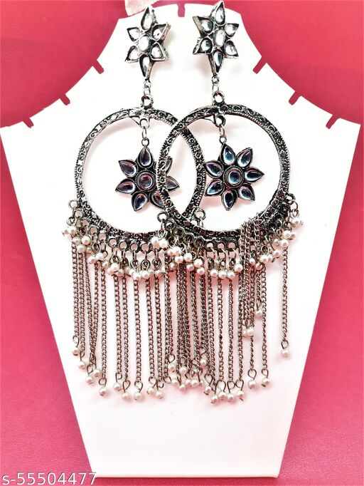 Long Chain Pearl danglers Chandbali