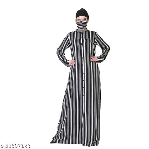 Crepe Made Front Open Abaya In Stripes.