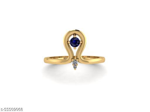 Ratnavali Arts | Natural Sapphire & Diamond Gemstone | 925 Sterling Silver Ring For Women & Girls Size-7