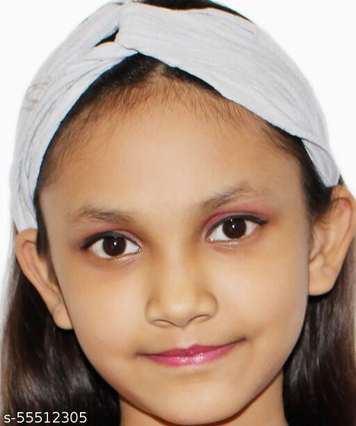 Drishya Girl's Stylish Painless Headband for Women, Girls | Painless Elastic Headband | Pom Pom | Headband for Girls, Baby Girl (Multicolour Design 2102, Pack of 1 Piece) (Silver Grey)