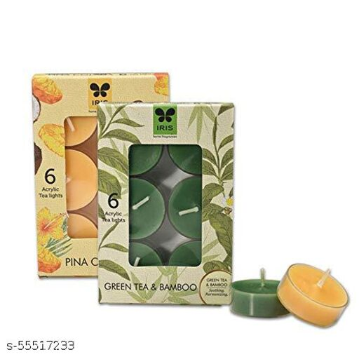 IRIS Tealight Combo Aroma Acrylic Cup Scented with Green Tea Bamboo and Pina Colada Fragrances (Pack of 6 Each)