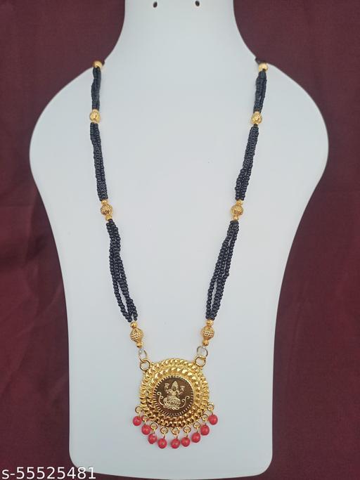 Premium Range Traditional 28 Inch Long Black Beads One Gram Gold Mangalsutra For Women