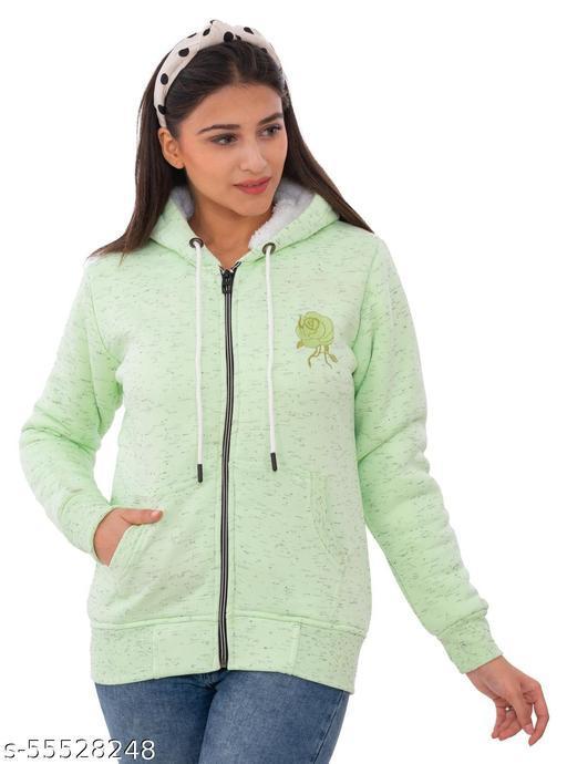 Loglo Winter Wear Casual Printed Polyester Hooded Sweatshirt For Women's