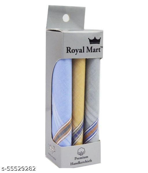 RoxyHub 3 Pieces Light Colour 15 Inch Complete Face Cover Handkerchief Men's Cotton Striped
