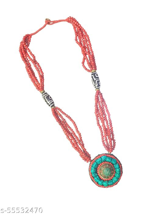 Hand Made Pendent Long Tribal Assorted Bead Necklace for women and girls
