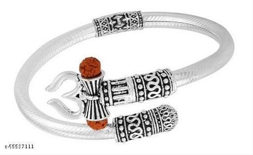 Shiv Trishul Damru Rudraksh Kada Bracelete with Designer Silver