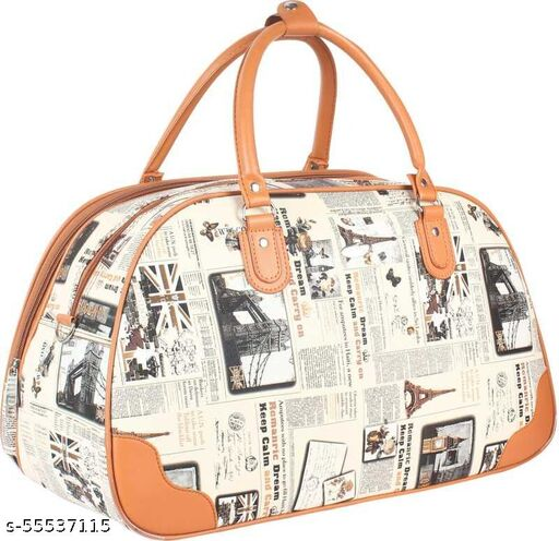 20 L Hand Duffel Bag - Leather Beige Womans's Travel duffel Bag - Beige - Regular Capacity