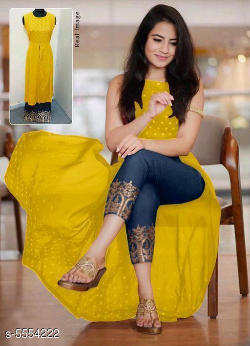 Women's Printed Rayon Kurta set with Pants