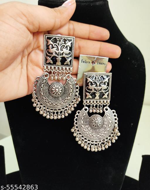 Classic Meenakari Oxidised Silver Earrings Set