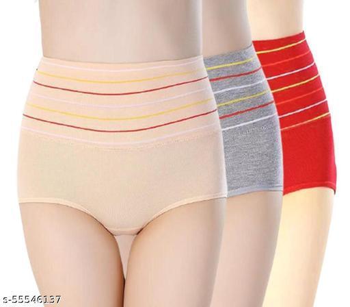 Women's Cotton High Waist Tummy Tucker Pantye  (Pack of 3 )