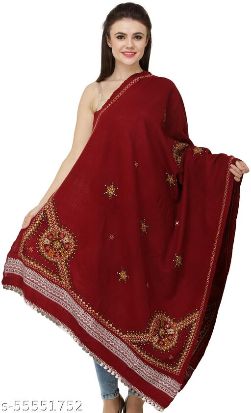 Exotic India Shawl from Kutch with Multicolored Thread Embroidered Chakra and Mirrors