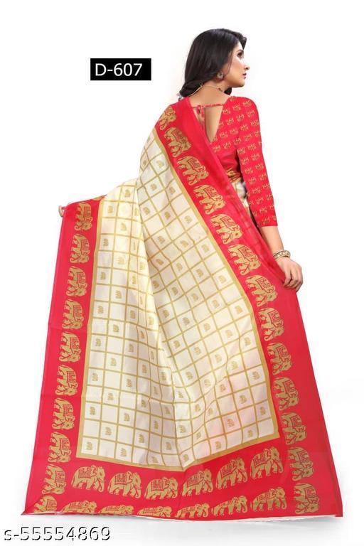 D607  Women's beautiful printed art silk saree