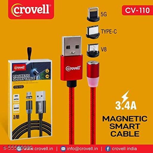 Crovell CV-110 3 in 1 Magnetic Smart Cable with 2.4A Output Fast Charging Data Cable with LED Compatible for iOS,Android,All Smartphones.