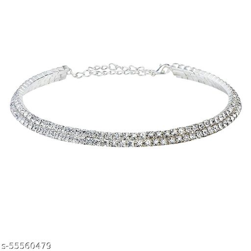 ATPATi 2 Row Silver-Plated Alloy Diamond Choker for Girls/Women Partywea rNecklaces & Chains