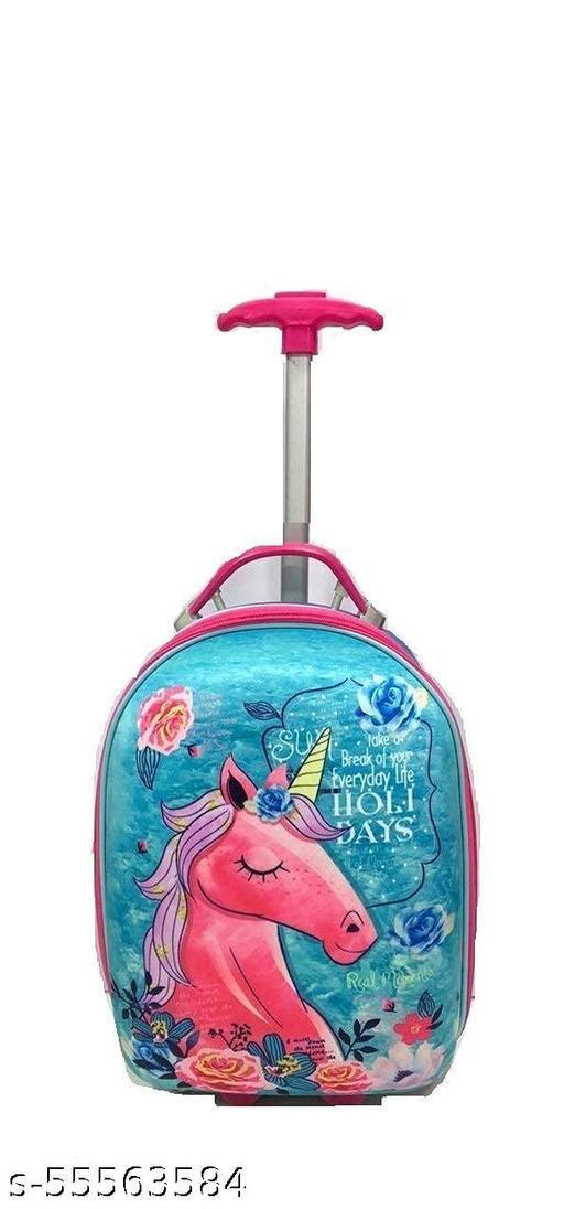 Rush Canvas Kids Luggage Trolley Bag for Kids,Cartoon Travel Bag Suitcase for Girls/Boys (Unicorn )