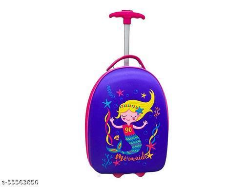 Rush Hard Canvas Cartoon Travel Bag Suitcase for Girls/Boys (Mermaid)