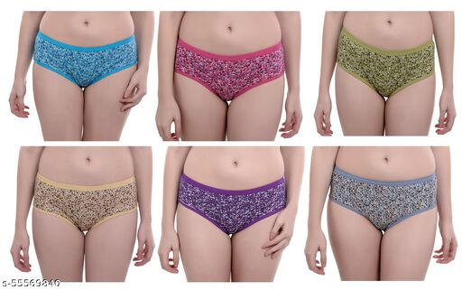 SEARCHING ENDS Women's Cotton Floral Printed Panties (Pack of 6)