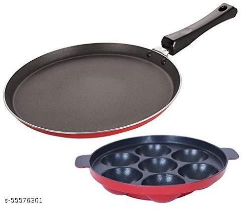 Nirlon Aluminum Cookware Set, 2-Piece, Red & Black, 2.6mm_FT12_AP7pan