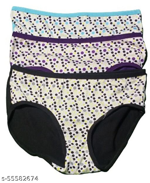 Women's Daily Use Dot 100% Cotton Panties(Pack of 3, Multicolor)
