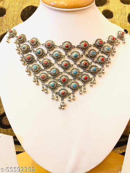 German Silver Multicolor Stone Necklace