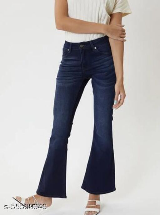 Passion Petals Denim Flared Jeans for Girls and Womens