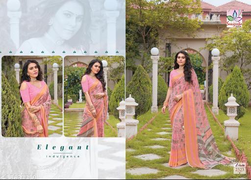 Beautiful Printed Viscose Pattern  Sarees With Viving Border