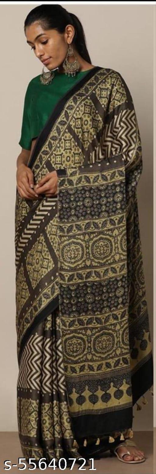 Women's Plain Jaipuri Printed Pure Cotton Mulmul Traditional Ethnic Saree with Blouse Piece