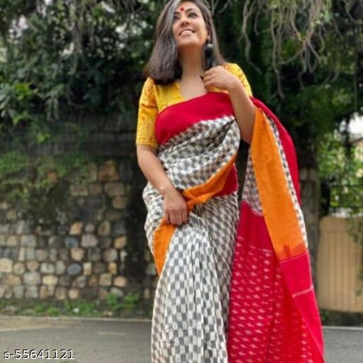 Women's Plain Bagru Printed Pure Cotton Mulmul Traditional Ethnic Saree with Blouse Piece