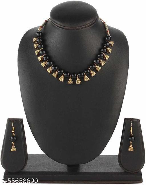 Gold-plated Jewel Set  (Black, Gold)