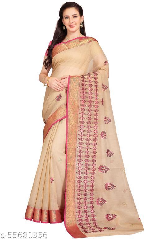 RANI SAAHIBA Women's Poly Cotton Embroidered Saree With Blouse Piece (SKR7006_Beige-Magenta)