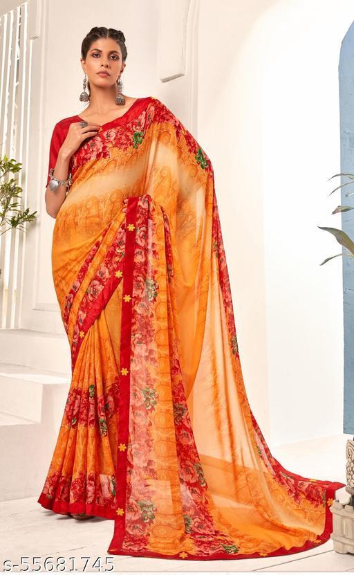 Shakunt Weaves Banglori Silk Orange & Red Saree  - VPHLL33165