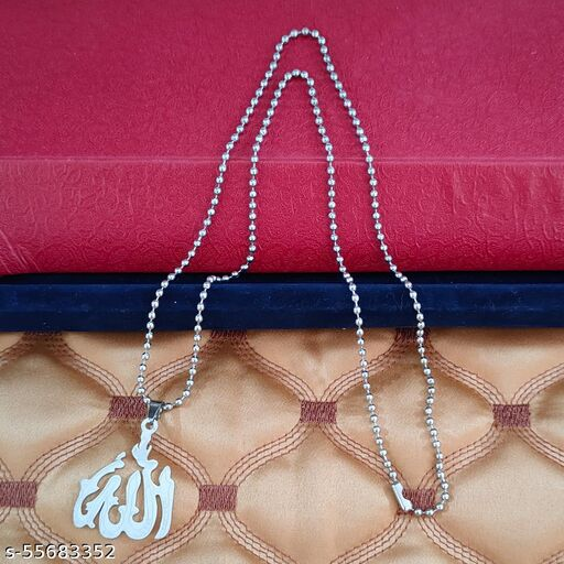 M Men Style Islamic Allah Locket Silver Stainless Steel Religious Pendant Necklace Chain For Men And Women