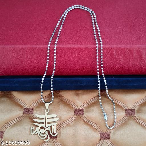 Shiv Jagdamba Shiv Shankar Mahadev Trishul Locket Multicolour Stainless Steel Religious Pendant Necklace Chain For Men And Women