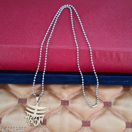 Shiv Jagdamba Mahakal Shiva Trishul Locket Multicolour Stainless Steel Religious Pendant Necklace Chain For Men And Women