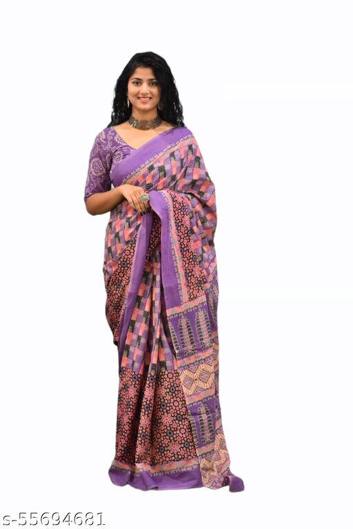 ETHNIC PURE COTTON SAREE WITH BLOUSE(ATTRACTIVE LOOK)