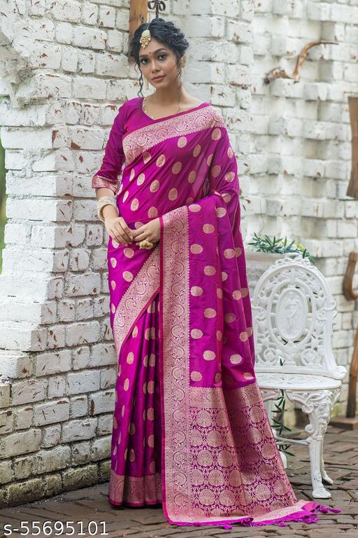 Shangreela Soft banarasi katan silk saree with pure zari Weaves all over with gorgeous weaving pallu and border with fancy tassels and matching blouse piece