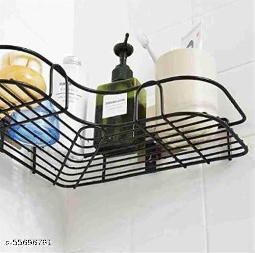 Stainless Steel Bathroom Corner Shelf Organizer Storage Hanging Shower Caddy Rack (Black)