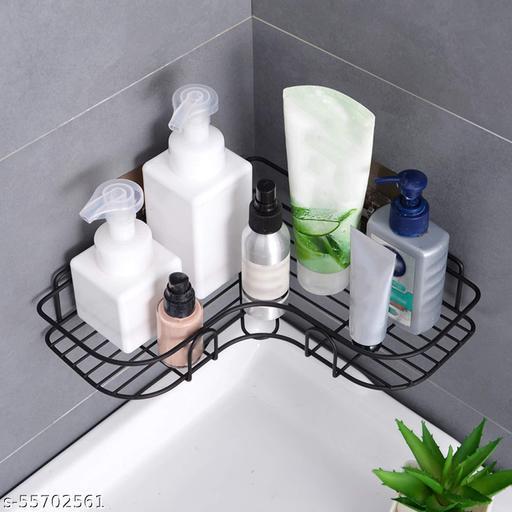 Self-Adhesive Metal corner,Bathroom Corner Cupboard, Bathroom corner Rack ,metal Bathroom Corner,Bathroom corner(Number of Shelves - 1, Black) Stainless Steel Wall Shelf  (Number of Shelves - 1, Black)