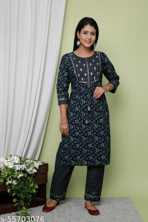 Jaipuri Rang Women Cotton Navy Blue Printed Straight Kurta with Pant